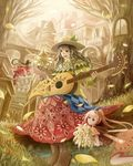 3girls :d ahoge black_eyes blonde_hair boots bouquet braid bridge brown_hair building city cityscape dress fairy fairy_wings fantasy floral_print flower flying grass green_dress guitar hat hat_leaf highres holding holding_bouquet holding_instrument instrument leaf long_hair minigirl multiple_girls open_mouth orange_dress original ponytail red_boots red_shirt red_skirt sakimori_(hououbds) shirt sitting skirt smile tree treehouse very_long_hair window wings