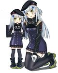 2girls :d ankle_boots backpack bag bangs beret black_hat black_legwear blunt_bangs boots braid buttons collar dual_persona echj flush french_braid girls_frontline gloves green_eyes hand_on_lap hat hk416_(girls_frontline) iron_cross kneeling long_hair looking_at_viewer multiple_girls open_mouth plaid plaid_skirt pleated_skirt randoseru shadow simple_background skirt smile thighhighs uniform white_background white_gloves white_hair younger