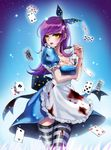 1girl ace_of_diamonds ace_of_spades alice_(wonderland) alice_in_wonderland apron black_legwear blood blood_stain bloody_clothes blue_background blue_dress breast_hold breasts card cleavage dress drink_me_potion king_of_spades lipstick long_hair maid_apron makeup mole mole_under_eye playing_card puffy_short_sleeves puffy_sleeves purple_hair queen_of_diamonds rrose short_sleeves standing striped striped_legwear thighhighs white_legwear yellow_eyes