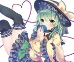1girl bangs black_hat black_legwear blush bow choker eyebrows_visible_through_hair frilled_hat frilled_skirt frilled_sleeves frills green_eyes green_hair hair_between_eyes hat hat_bow heart heart_of_string holding karasusou_nano komeiji_koishi long_sleeves looking_at_viewer sidelocks simple_background skirt solo thighhighs third_eye touhou white_background wide_sleeves yellow_bow zettai_ryouiki