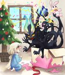 >_< 1girl :d black_skin blonde_hair blue_pajamas blue_ribbon blush bow box child christmas christmas_ornaments christmas_tree crying eyebrows_visible_through_hair eyes_closed from_side full_body gift gift_box gloom_(expression) hair_between_eyes holding holding_gift horns indoors long_hair low-tied_long_hair mikuromono monster multiple_arms no_pupils nose_blush open_mouth original pajamas party_popper pointy_ears red_bow red_ribbon ribbon sharp_teeth sitting smile solid_circle_eyes star stuffed_animal stuffed_bunny stuffed_toy sweat teeth twitter_username window yellow_sclera