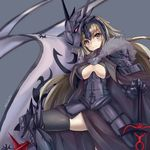 1girl armor armored_dress bangs black_legwear blonde_hair blush breasts cape cowboy_shot fate/grand_order fate_(series) faulds flag fur_trim gauntlets greaves headpiece helmet holding holding_sword holding_weapon jeanne_alter kurokage large_breasts long_hair looking_at_viewer ruler_(fate/apocrypha) smile solo sword thighhighs very_long_hair weapon yellow_eyes