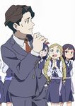 1boy 5girls andrew_hanbridge arai_hiroki avery_(little_witch_academia) blonde_hair blue_hair brown_hair drill_hair formal green_eyes hair_ornament hairclip hands_clasped highres little_witch_academia luna_nova_school_uniform multiple_girls purple_eyes purple_hair school_uniform smile solid_oval_eyes suit sweatdrop twin_drills white_background
