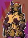 2017 alien arm_cannon armor big_breasts black_hair breasts cleavage clothed clothing collar female hair looking_at_viewer muscular navel predator predator_(franchise) ranged_weapon sk-8080 skimpy solo unconvincing_armor weapon yautja