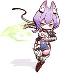 1girl animal_ears blush breasts character_request chibi cleavage closed_mouth collarbone copyright_request fox_ears green_eyes holding holding_knife holding_weapon knife large_breasts looking_away naga_u navel purple_hair short_hair smile solo weapon