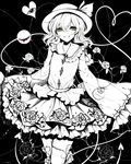 1girl absurdres bow floral_print frills green_eyes hat heart highres komeiji_koishi long_sleeves monochrome sheya shirt short_hair skirt smile third_eye touhou wide_sleeves