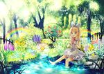 1girl barefoot blonde_hair blush food green_eyes hairband highres holding holding_food looking_away medium_hair niikura_kaori open_mouth original rainbow sitting smile soaking_feet solo tree water
