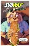 2017 amber_eyes anthro bad_edit bathroom blonde_hair blone_eyelashes blue_shirt bottomless bread brown_fur censored cheese clothed clothing cucumber eating edit english_text equine feline first_person_view food footlong fruit fur hair humor joke lettuce lion male male/male male/sandwich male_pov mammal meat meesh oral sandwich_(disambiguation) shirt sitophilia slogan subway text tomato vegetable watermark whiskers wristwatch yellow_fur