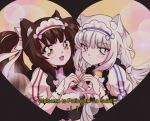 2girls :< :3 :d animal_ear_fluff animal_ears blue_eyes brown_hair cat_ears chocola_(sayori) commentary english english_commentary eyebrows_visible_through_hair hair_ribbon heart heart_hands heart_hands_duo highres komi_shou long_hair looking_at_viewer low_twintails maid maid_headdress multiple_girls nekopara oldschool open_mouth puffy_short_sleeves puffy_sleeves ribbon short_sleeves smile subtitled twintails uniform vanilla_(sayori) white_hair white_ribbon wrist_cuffs yellow_eyes