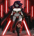 big_breasts breasts cloak clothed clothing female friendship_is_magic hair huge_breasts human lightsaber long_hair mammal midriff my_little_pony pale purple_hair rarity_(mlp) shonuff44 sith skimpy star_wars wide_hips