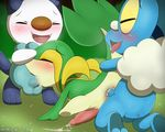 anal anal_penetration anus backsack balls blue_fur blue_scales blush cub cum cum_in_ass cum_in_mouth cum_inside cum_on_ground erection eyes_closed froakie fur grass green_scales group group_sex humanoid_penis kneeling looking_pleasured male male/male nintendo open_mouth oral oral_penetration oshawott outside penetration penis pokémon saliva scales scalie sex snivy spitroast sweat tapering_penis teeth threesome tongue tongue_out video_games white_fur winick-lim yellow_scales young