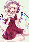 1girl :p alternate_costume barefoot blonde_hair blue_background cherry cherry_earrings detached_collar detached_sleeves dress earrings eyelashes finger_to_face flandre_scarlet floral_background food food_themed_earrings fruit full_body ginzuki_ringo hat hat_ribbon heart heart_earrings highres jewelry looking_at_viewer mob_cap petticoat pointy_ears red_dress red_eyes ribbon short_hair side_ponytail sitting solo strapless strapless_dress tongue tongue_out touhou wings wrist_cuffs yokozuwari