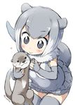 1girl :> artist_name blush commentary_request elbow_gloves eyebrows_visible_through_hair fingerless_gloves fur_collar gloves grey_eyes grey_gloves grey_hair grey_legwear grey_swimsuit heart kemono_friends multicolored_hair one-piece_swimsuit otter otter_ears otter_tail risumai short_hair simple_background small-clawed_otter_(kemono_friends) smile solo swimsuit thighhighs twitter_username two-tone_hair white_background white_hair