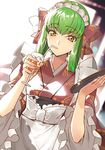 1girl alternate_costume alternate_hairstyle apron backlighting bangs blurry blurry_background bow c.c. code_geass commentary_request creayus cup day drinking drinking_glass dutch_angle enmaided eyebrows_visible_through_hair frilled_sleeves frills green_hair hair_bow hair_rings holding holding_drinking_glass holding_tray ice ice_cube japanese_clothes kimono long_hair long_sleeves looking_at_viewer maid maid_headdress short_hair solo sunlight tray tsurime upper_body wa_maid waist_apron white_apron white_bow wide_sleeves yellow_eyes