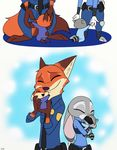 2017 anthro canine clothing comic daughter disney eyes_closed fan_character father female fox fur hi_res hybrid judy_hopps lagomorph male mammal mother nick_wilde parent police_uniform rabbit raccoon skeletonguys-and-ragdolls uniform violet_(zootopia) young zootopia