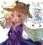 2girls ahoge arms_up bangs blonde_hair blue_eyes blue_hair bow brown_hat cirno frog frozen_frog hair_bow hair_ribbon hat ice ice_wings long_sleeves looking_at_viewer moriya_suwako multiple_girls open_mouth peipei puffy_short_sleeves puffy_sleeves purple_skirt red_ribbon ribbon short_sleeves simple_background skirt skirt_set smile star touhou tress_ribbon vest white_background wide_sleeves wings yellow_eyes