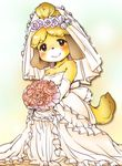 animal_crossing anthro armwear blush bouquet breasts bride canine clothed clothing dog dress elbow_gloves eyelashes female flower fully_clothed fur gloves isabelle_(animal_crossing) looking_at_viewer mammal nintendo plant rose shih_tzu simple_background smile solo standing unknown_artist video_games wedding_dress wedding_veil yellow_fur
