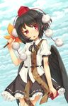 1girl bangs black_hair black_ribbon black_skirt black_wings blue_sky blush cloud cloudy_sky cowboy_shot day eyebrows_visible_through_hair fan hat highres holding neck_ribbon notebook open_mouth outdoors paper_fan pom_pom_(clothes) red_eyes ribbon shameimaru_aya short_hair short_sleeves skirt sky solo tokin_hat touhou uchiwa usotsuki_penta wings
