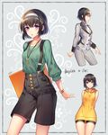 1girl :o arms_behind_back bangs bare_shoulders bike_shorts black_border black_hair black_shorts blush border breasts buttons casual closed_mouth collarbone commentary_request cropped_legs drawstring expressionless eyebrows_visible_through_hair folder formal green_shirt grey_jacket grey_pants highres holding hood hood_down hoodie key long_sleeves looking_at_viewer looking_away medium_breasts milcho multiple_views necktie open_mouth original pants profile purple_eyes shirt short_hair shorts signature sleeveless sleeveless_hoodie smile solo standing striped striped_hairband suit suspenders thigh_gap white_necktie wing_collar wristband