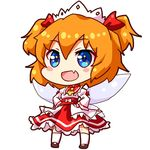 1girl :d bangs black_shoes blue_eyes blush_stickers chibi commentary eyebrows_visible_through_hair fairy_wings fang frilled_shirt_collar frilled_skirt frills full_body hair_between_eyes hairband hands_on_hips loafers long_sleeves looking_at_viewer lowres open_mouth orange_hair red_collar red_skirt renren_(ah_renren) shirt shoes short_hair simple_background skirt smile solo standing sunny_milk touhou two_side_up white_background white_hairband white_legwear white_shirt wings yellow_ascot