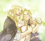 3boys alphonse_elric belt black_shirt blonde_hair blush brothers clenched_hand coat edward_elric embarrassed eyes_closed father_and_son fingernails frown fullmetal_alchemist green_background hug long_hair looking_at_another male_focus multiple_boys nenone_miya open_mouth pants ponytail shirt siblings simple_background smile sweatdrop tears van_hohenheim yellow_eyes