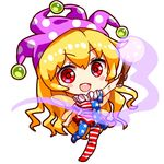 >:d 1girl :d american_flag_dress american_flag_legwear arm_up asymmetrical_clothes asymmetrical_legwear bangs bare_arms blonde_hair blush_stickers chibi clownpiece commentary dress eyebrows_visible_through_hair fairy_wings hat holding jester_cap long_hair looking_at_viewer lowres neck_ruff open_mouth pantyhose pink_eyes polka_dot polka_dot_hat purple_hat renren_(ah_renren) short_sleeves simple_background smile solo standing standing_on_one_leg torch touhou very_long_hair white_background wings