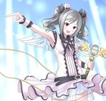 belt blush breasts eyebrows_visible_through_hair furukawa_tsukumo grey_hair holding holding_microphone idolmaster idolmaster_cinderella_girls kanzaki_ranko large_breasts looking_at_viewer microphone open_mouth pink_eyes pointing short_hair short_twintails smile twintails