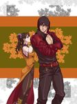 1boy 1girl bangs belt black_hair black_legwear brown_eyes chinese_clothes couple crossed_arms drill_hair floral_background gauntlets grabbing grabbing_from_behind hair_ornament height_difference hetero hood hooded_jacket inuhiko_(istdog) jacket kazama_jin ling_xiaoyu looking_at_another lying on_back studded_belt tekken tekken_7 twin_drills twintails