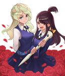 2girls blonde_hair blue_eyes blush breasts brown_hair closed_mouth diana_cavendish eyebrows_visible_through_hair flower green_hair highres kagari_atsuko little_witch_academia long_hair looking_at_viewer medium_breasts multicolored_hair multiple_girls open_mouth red_eyes red_rose rose smile ziongqian