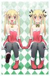 2girls :d argyle argyle_background bell bell_choker black_legwear blonde_hair boots choker christmas dress full_body fur_trim gloves hand_holding invisible_chair katatsuka_kouji looking_at_viewer mana_(katatsuka_kouji) mina_(katatsuka_kouji) multiple_girls open_mouth original panties panties_under_pantyhose pantyhose pantyshot pantyshot_(sitting) red_boots red_dress red_eyes red_gloves ribbon_choker short_dress siblings sisters sitting smile strapless strapless_dress twins twintails underwear