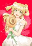 1girl :d absurdres alpha_(yukai_na_nakamatachi) blonde_hair character_name dress flower green_eyes hair_flower hair_ornament highres idolmaster idolmaster_cinderella_girls jougasaki_rika jpeg_artifacts open_mouth red_background smile solo sundress sunflower teeth two_side_up white_dress