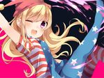 1girl ;d american_flag american_flag_legwear arm_up bangs blonde_hair blush clownpiece eyebrows_visible_through_hair hair_between_eyes hat jester_cap karasusou_nano long_sleeves looking_at_viewer multicolored multicolored_background one_eye_closed open_mouth purple_eyes short_sleeves sidelocks smile solo touhou two-tone_background