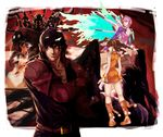 2boys 2girls alisa_boskonovich android asymmetrical_hair bangs belt bracelet breasts brown_hair chinese_clothes coattails detached_collar drill_hair feathers flame_print flower flying garter_straps gauntlets gigas_(tekken) gloves green_eyes hair_flower hair_ornament hood hooded_jacket inuhiko_(istdog) jacket jewelry kazama_jin ling_xiaoyu multicolored_hair multiple_boys multiple_girls pink_hair ringlets short_shorts shorts studded_belt tekken tekken_7 thighhighs thrusters twin_drills twintails