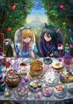 1boy 1girl alice_(wonderland) alice_in_wonderland animal_ears black_hair blonde_hair blue_bow blue_eyes bow breasts cat_ears chair cheshire_cat chocolate_chip_cookie copyright_name cup food gloves highres holding holding_cup large_breasts long_hair plate seungju_lee sitting table tea teacup teapot white_gloves