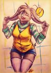 ! 2017 anthro arms_above_head big_ears blue_eyes breasts close_eye clothing female floppy_ears fur grey_fur lagomorph mammal rabbit smile solo teeth traditional_media_(artwork) white_nose yourfavoritelemonade
