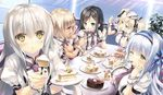 5girls asaka_ushio black_hair blonde_hair blue_eyes blue_hair brown_eyes cake green_eyes hair_ribbon jc kasukabe_kanon misuzu_sasa multiple_girls necktie ouchi_ni_kaeru_made_ga_mashimaro_desu raiha_raikkonen ribbon silver_hair twintails waitress_uniform wrist_cuffs yellow_eyes
