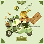artist_name bird english food fox green ground_vehicle label marmalade motor_vehicle motorcycle nadia_kim no_humans original sidecar simple_background text toast vehicle