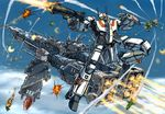 aircraft_carrier alien battle choujikuu_yousai_macross cloud commentary_request condensation_trail damaged energy_cannon explosion firing flying gunpod ichijou_hikaru itano_circus macross mecha meltrandi military military_vehicle power_armor prometheus_(ship) queadluun-rau quimeliquola science_fiction sdf-1 ship space_craft thrusters variable_fighter vf-1 vf-1j warship watercraft wreckage zentradi