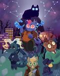 alligator angus_(nitw) ankh antlers avian bea_(nitw) bird building canine cat cigarette clothing constellations cover crocodile crocodilian dead_trees dissociation dongoverlord feline floating forest fox germ_(nitw) glowing glowing_eyes god? grass grave gregg_(nitw) hat hill holding_object holding_weapon horn jacket knife mae_(nitw) magazine_cover mammal night_in_the_woods night_time nightmare_eyes poles reptile scalie shooting_stars smoke smoking star tears telephone_poles tombstone top_hat tree unknown_species weapon windows_(disambiguation)