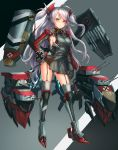 1girl armored_boots armpit_cutout azur_lane bangs blush boots breasts brown_eyes cannon eyebrows_visible_through_hair full_body garter_straps hand_on_hip highres iron_cross large_breasts leotard lithium10mg long_hair long_sleeves looking_at_viewer machinery mole mole_on_breast multicolored_hair pelvic_curtain prinz_eugen_(azur_lane) red_hair rigging sideboob silver_hair smile solo streaked_hair thigh_boots thighhighs tsurime turret two_side_up very_long_hair wide_sleeves