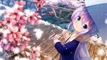 1girl absurdres blue_eyes blue_umbrella bridge chinomaron day eyebrows_visible_through_hair fur_trim gochuumon_wa_usagi_desu_ka? hair_between_eyes head_tilt highres holding holding_umbrella kafuu_chino long_hair open_mouth outdoors pink_flower polka_dot polka_dot_umbrella purple_hair scarf snowing solo standing umbrella very_long_hair yellow_scarf