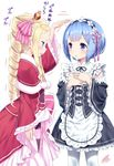 2girls beatrice_(re:zero) blonde_hair blue_eyes blue_hair capelet crown detached_sleeves dress drill_hair frilled_sleeves frills hair_ornament hair_over_one_eye hair_ribbon long_hair maid maid_headdress mini_crown multiple_girls pink_ribbon purple_ribbon re:zero_kara_hajimeru_isekai_seikatsu rem_(re:zero) ribbon ribbon-trimmed_clothes ribbon_trim striped striped_legwear twin_drills twintails white_background x_hair_ornament yasuyuki younger