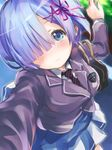 1girl aqua_hair bag blue_eyes breasts commentary_request faux_traditional_media hair_over_one_eye handbag highres kousaka_yami large_breasts long_sleeves looking_at_viewer necktie ram_(re:zero) re:zero_kara_hajimeru_isekai_seikatsu school_uniform skirt solo traditional_media