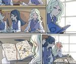 3girls artist_name barbara_parker black_hair blonde_hair blush book broom broom_riding brown_hair diana_cavendish facepalm hanna_england hat ink_pot little_witch_academia long_hair multiple_girls purple_eyes quill sweatdrop ticcy window witch_hat