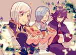3boys black_hair blue_eyes blush cup deere_(fire_emblem_if) eating fire_emblem fire_emblem_if flower food gloves hair_over_one_eye hisame_(fire_emblem_if) leaf male_focus multiple_boys open_mouth shigure_(fire_emblem_if) sitting teacup teapot white_hair