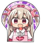 1girl :d apron bangs breast_mousepad bunny_hair_ornament chibi collared_shirt commentary_request eyebrows_visible_through_hair fang flat_chest hair_ornament heart kanikama long_hair looking_at_viewer lowres mousepad natori_sana open_mouth pink_apron puffy_short_sleeves puffy_sleeves red_eyes sana_channel shirt short_sleeves smile solo two_side_up white_shirt