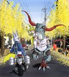 1boy 1girl absurdres animal animal_ears autumn_leaves bangs blue_jacket blue_pants blue_sky blunt_bangs blush boots child closed_mouth clothed_animal commentary_request day doitsuken dragon dress fox_boy fox_ears fox_girl fox_tail gloves ground_vehicle helmet highres jacket jewelry leaf leaning_on_object license_plate lizard long_sleeves looking_at_another looking_up medium_hair monster motor_vehicle motorcycle multiple_tails necklace orange_eyes original outdoors pants police police_uniform policeman postbox power_lines red_shoes reins riding road shirt shoes short_eyebrows shorts sitting sky slit_pupils smile standing standing_on_one_leg street tail telephone_pole thick_eyebrows uniform walking white_dress white_gloves
