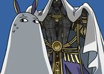 1boy 1girl absurdres animal_ears bald blue_background commentary_request cosplay darius_iii_(fate/grand_order) dark_skin dark_skinned_male fate/grand_order fate_(series) glowing glowing_eyes highres looking_at_another medjed medjed_(cosplay) nitocris_(fate/grand_order) nitocris_(swimsuit_assassin)_(fate) shadow tattoo yellow_eyes yuuma_(u-ma)
