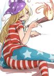 1girl american_flag american_flag_legwear american_flag_shirt arm_support bare_back blonde_hair clownpiece cowboy_shot crotch_seam eyebrows_visible_through_hair fairy_wings fire from_behind grin hair_between_eyes half-closed_eyes hat head_tilt highres holding jester_cap long_hair looking_at_viewer looking_back lying m92fs neck_ruff on_side pantyhose polka_dot print_legwear red_eyes sharp_teeth short_sleeves simple_background smile solo star star_print striped teeth torch touhou white_background wings