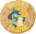 2016 absurd_res anthro blue_fur canine cereal cheerios food fur general_mills grin hi_res holding_object honey honey-nut-lucarios honey_dipper honey_nut_cheerios logo looking_at_viewer lucario mammal nintendo parody pokémon red_eyes semi-anthro simple_background smile solo spikes video_games white_background